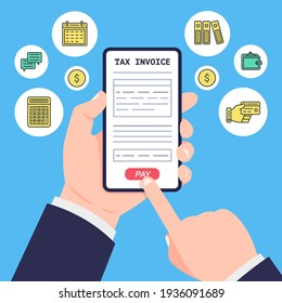 Businessman's hands are holding smartphone and presses the button pay on tax payment. Calculation tax on the laptop. Finance icons set. Vector.