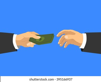 Businessman's hands taking cash money, flat illustration on blue background