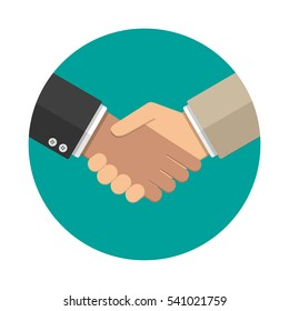 Businessmans handshake icon. vector illustration in flat design at grey background. shaking hands. successful transaction.