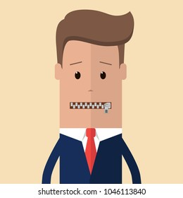 The businessman's mouth is closed with a zipper. Concept of restricted expression, silence, anonymity. Vector illustration