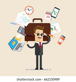 Businessman's working day. Man cope with work. Business man hold a big briefcase with a lot of office things. Vector, illustration, flat
