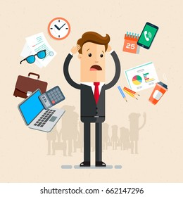 Businessman's working day.  A lot of office things, smartphone, laptop, glasses, documents, cup of coffee, calendar, calculator. Vector, illustration, flat