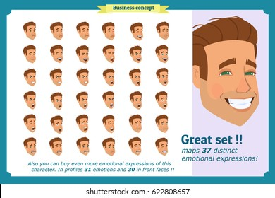 Businessman.Young man's portraits.Different male avatar expressions set.Handsome man beautiful.Isolated on white.Cute flat.Joy,laughter,sorrow, sadness,anger,rage,surprise,shock,crying vector.Emotions