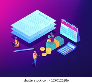 Businessmen and accountant filling and calculating financial document form. Tax form, income tax return, company tax payment concept. Ultraviolet neon vector isometric 3D illustration.