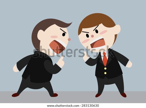 businessmen argue each other cartoon vector