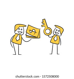 businessmen barter key and money yellow stick figure