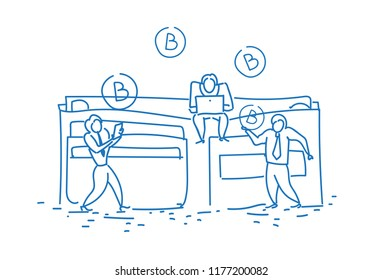 businessmen bitcoin wallet money accumulation growth wealth concept crypto currency mining teamwork horizontal sketch doodle vector illustration
