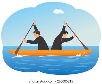 Businessmen in the boat are rowing at the opposite direction from each other