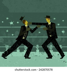 Businessmen boxing match Two retro businessmen fighting in a boxing ring with a crowd watching. The boxers and background are on separate labeled layers.