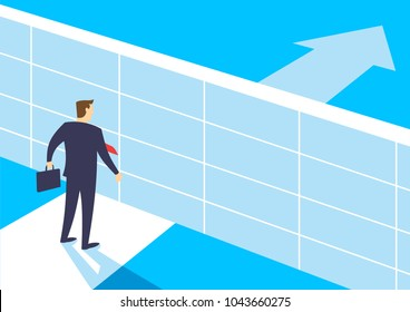 Businessmen break barriers with hammer, Overcome obstacles on the way to successful, Business concept of challenge problem solving and overcoming obstacles, Flat design vector illustration