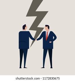 Businessmen broken contract relationship partnership failure cracked disagreement. Businessman handshake.
