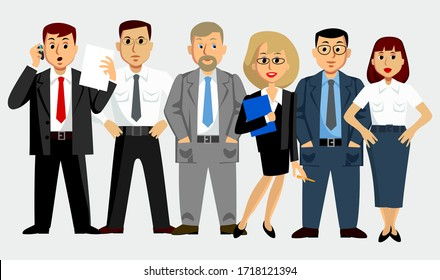 Businessmen and business ladies. Lawyers, economists, presidents, bank employees and entrepreneurs. Vector image.