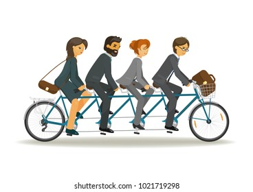 Businessmen and business women riding tandem bicycle together. Business teamwork concept. Vector illustration on white background.