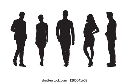 Businessmen and businesswomen, group of people in formal clothes. Set of isolated vector silhouettes