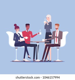 Businessmen and businesswomen having coffee break vector flat illustration. Group of business people sitting at the table, drinking coffee and talking. Lunch break in the office or business meeting