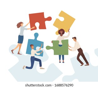Businessmen and businesswomen with puzzles flat vector illustration. Partnership, harmonious work. Business team, office managers, entrepreneurs cartoon characters isolated on blue background
