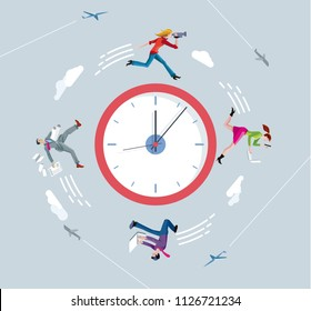 Businessmen and businesswomen running on circular clock. Running against the clock.  Ilustration concept metaphor of running a race against time.