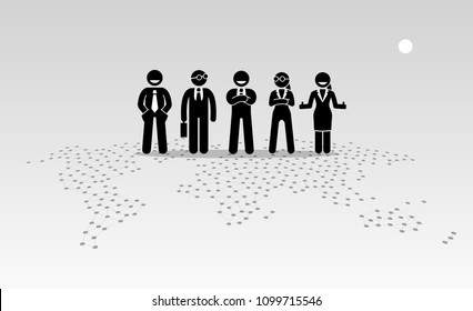 Businessmen and businesswomen standing on top of a world map. Vector artwork depicts the concept of globalisation and international organization.