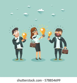 Businessmen characters have an idea for startups. Crowd of businessmen showing their ideas. Competition of Business ideas. Hackathon. Colorful vector flat illustration