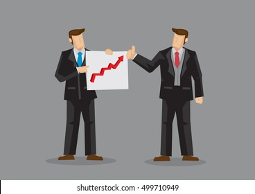 Businessmen with chart showing up trend feeling good about business growing. Cartoon vector illustration on good business performance concept isolated on grey background.