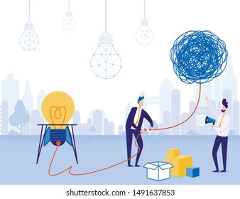 Businessmen Check Solution or Idea Startup for Operability. Cartoon Ropes Skein with Outlet at End. Flat Glowing Rocket Light Bulb with Power Plug. Man and Advisor Connect Wires. Vector Illustration
