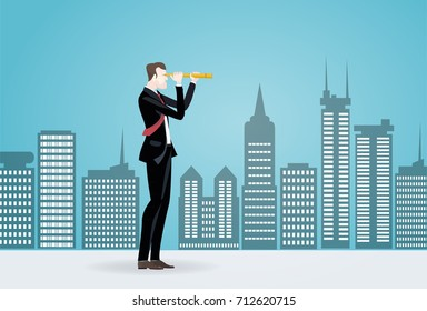 Businessmen in the City looking with the telescope for business opportunities. Business concept illustration