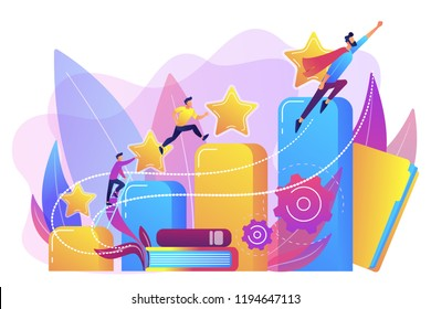 Businessmen climb growth column graph. Career and personality development, careerbuilder, career planning progress concept on white background. Bright vibrant violet vector isolated illustration