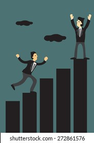 Businessmen climbing to the top of bar chart. Creative vector illustration for business concept.