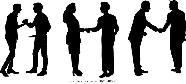 Businessmen, colleagues shake hands, Businessmen, colleagues shake hands, welcome acquaintance in the office, conclude a deal, conclude an agreement after successful negotiations. Silhouettes.