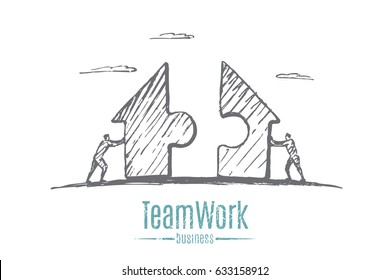 Businessmen collect puzzles. Puzzles have the shape of a home. Vector concept illustration. Hand drawn sketch. Lettering teamwork, business.