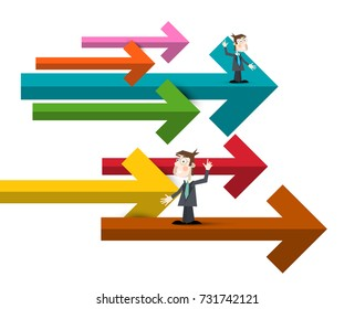 Businessmen with Colorful Paper Arrows. Vector Illustration of Men in Suits.