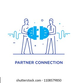Businessmen connect connectors. Cooperation interaction. Success, Cooperation. line icon illustration