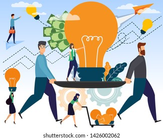 Businessmen and creative ideas to make money The growth of the business with teamwork and collaboration within the organization and outside the organization. Business cooperation vector illustration.