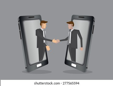 Businessmen of different ethnicity reaching out from mobile phone for handshake. Creative vector illustration for business and technology concept isolated on grey background.