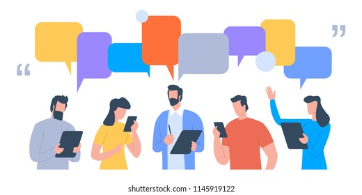 Businessmen discuss social network, news, social networks, chat, dialogue speech bubbles. Vector flat illustration