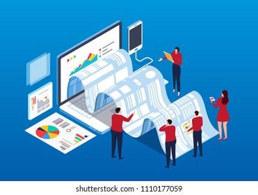 Businessmen doing data report and analysis