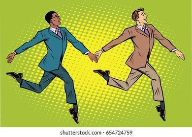 Businessmen elegantly moving, multi-ethnic group. Pop art retro vector illustration