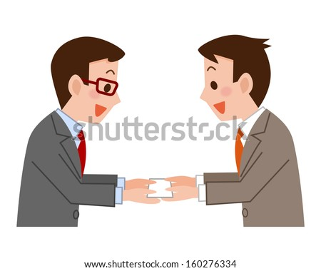 Businessmen Exchanging Business Cards Stock Vector Royalty Free
