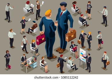 Businessmen executive people in dark suits, isometric people. Can use for web banner, infographics, hero images. Flat isometric people, vector illustration isolated on generic background.