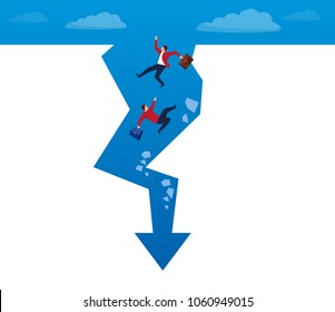 Businessmen fall to the bottom of the arrow