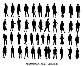 Businessmen and fashion silhouettes