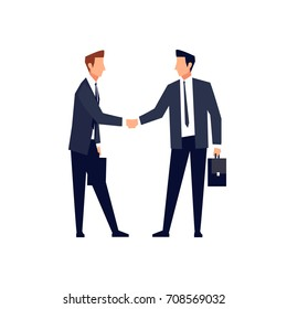 Businessmen in a flat style isolated on white background. Businessmen came to an agreement and completed the deal with a handshake. Template for banner or infographics. Vector illustration.