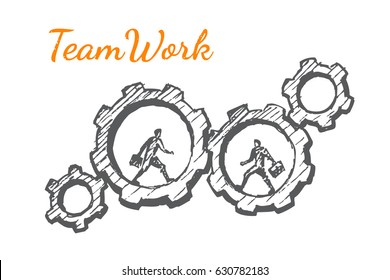 Businessmen in gears. Vector business concept illustration. Hand drawn sketch. Lettering teamwork.