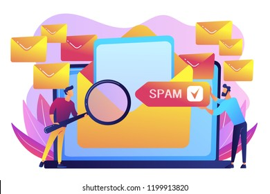 Businessmen get advertising, phishing, spreading malware irrelevant unsolicited spam message. Spam, unsolicited messages, malware spreading concept. Bright vibrant violet vector isolated illustration.