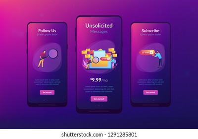 Businessmen get advertising, phishing, spreading malware irrelevant unsolicited spam message. Spam, unsolicited messages, malware spreading concept. Mobile UI UX GUI template, app interface wireframe