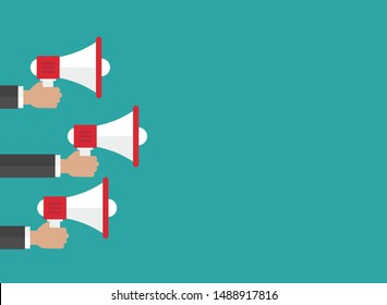 businessmen hands with white megaphone on blue background. Flat cartoon loudspeaker. simple vector  illustration. Announcement symbol. Attention sign. Advertisement placard