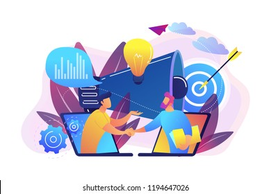 Businessmen handshake from laptops and megaphone. Collaboration and communication, corporate and cooperative business concept on white background. Bright vibrant violet vector isolated illustration