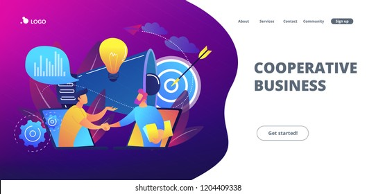 Businessmen handshake from laptops and megaphone. Collaboration and communication, corporate and cooperative business concept on white background. Website vibrant violet landing web page template.