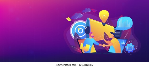 Businessmen handshake from laptops and megaphone. Collaboration and communication, corporate and cooperative business concept on white background. Header or footer banner template with copy space.