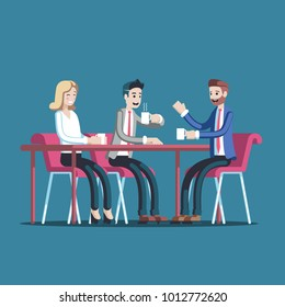 Businessmen having coffee break vector flat illustration. Group of business people sitting at a table drinking coffee or tea and talking to each other. Lunch break or an informal conference